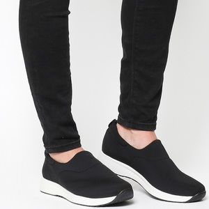 Navy Blue Stretch  leather Slip on sneaker
